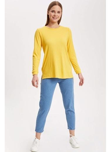 DeFacto Uzun Kollu Basic Tunik Sarı